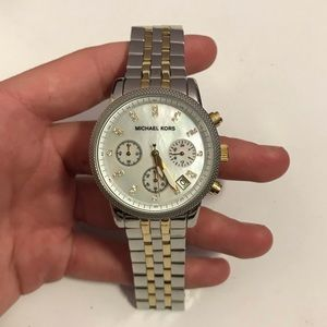 Michael Kors Gold Silver Mother Pearl Watch